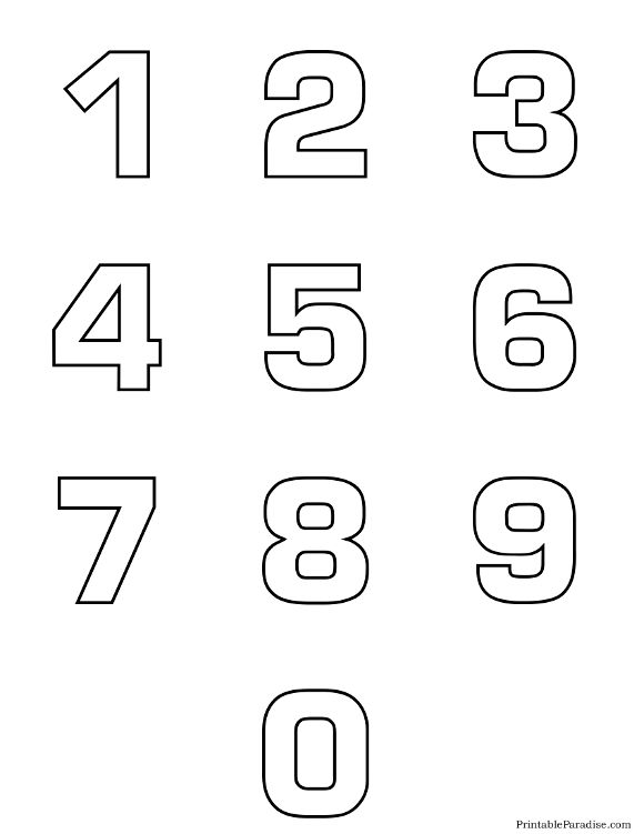 printable number 0 numbers sheet from 0 9 - Printable Outlines