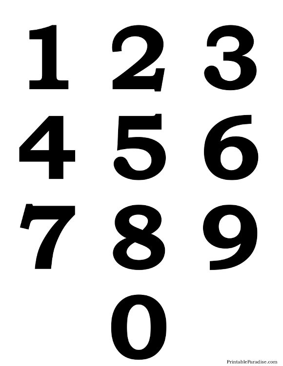 Printable Silhouette Numbers 0-9