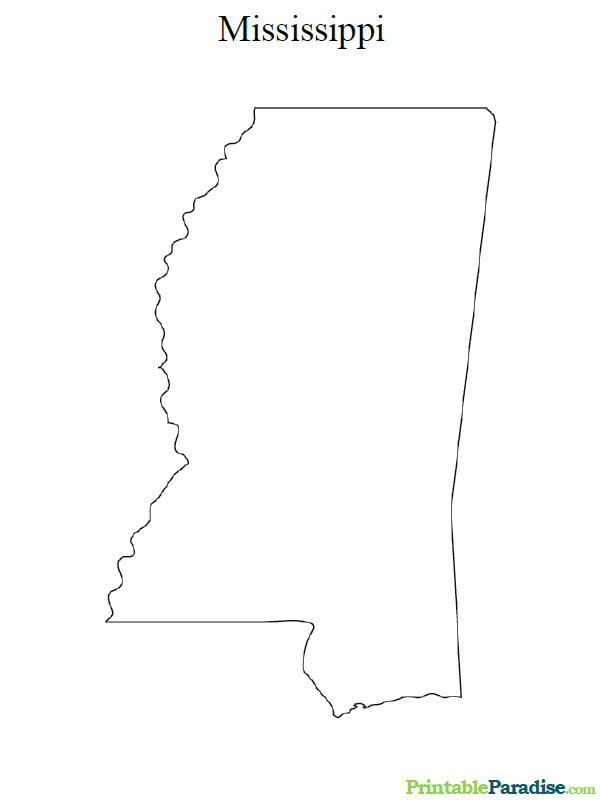 Printable Map of Mississippit