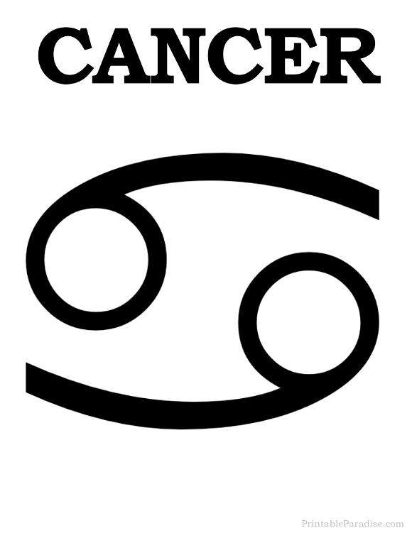 Printable Cancer Zodiac Sign Print Cancer Symbol